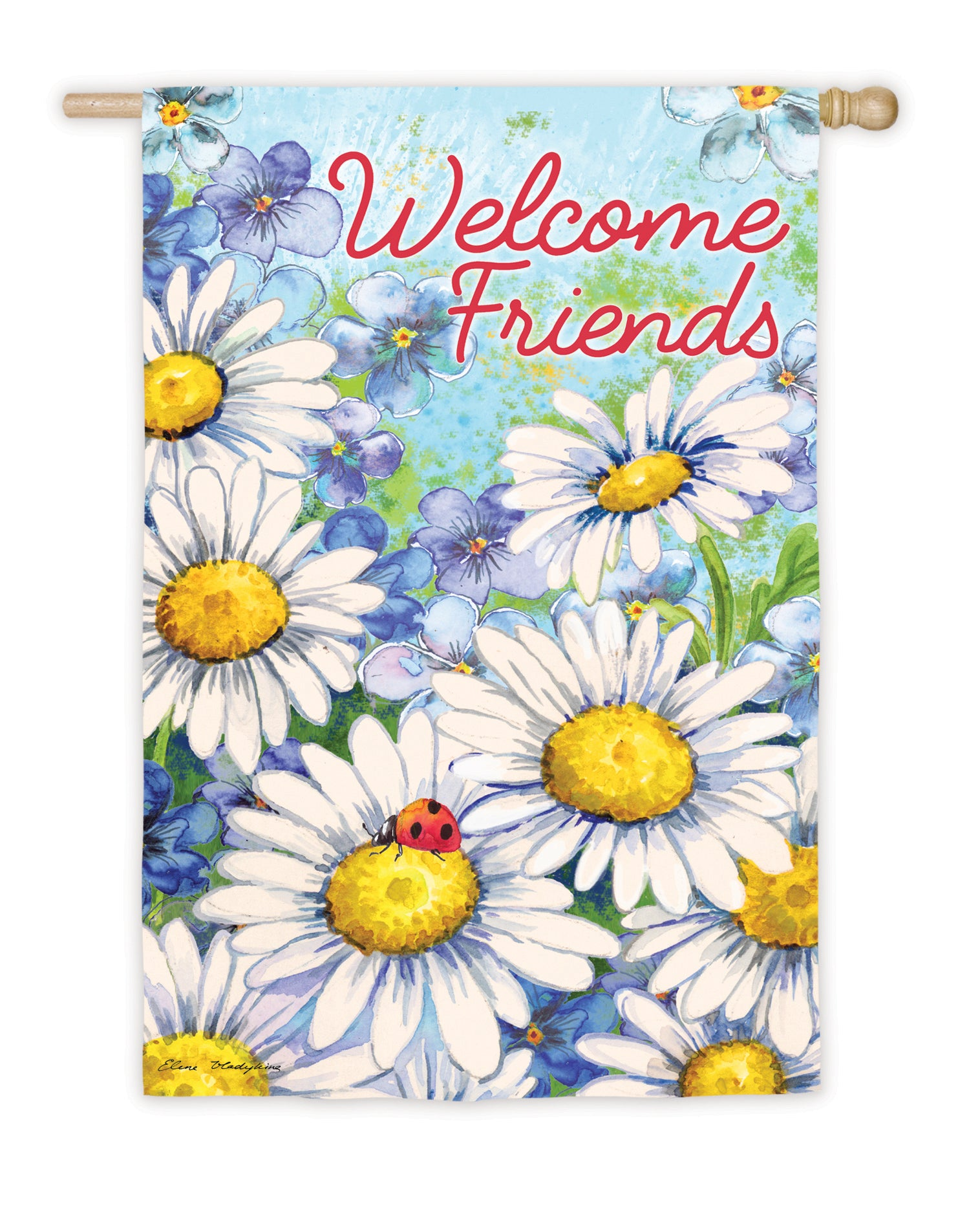 "Load image into Gallery viewer, ""Daisy Welcome"" Printed Suede Seasonal House Flag; Polyester"