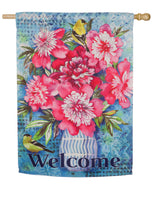 "Load image into Gallery viewer, ""Peonies on Blue"" Printed Suede Seasonal House Flag; Polyester"