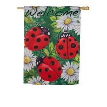 "Load image into Gallery viewer, ""Ladybugs on Green"" Printed Suede Seasonal House Flag; Polyester"