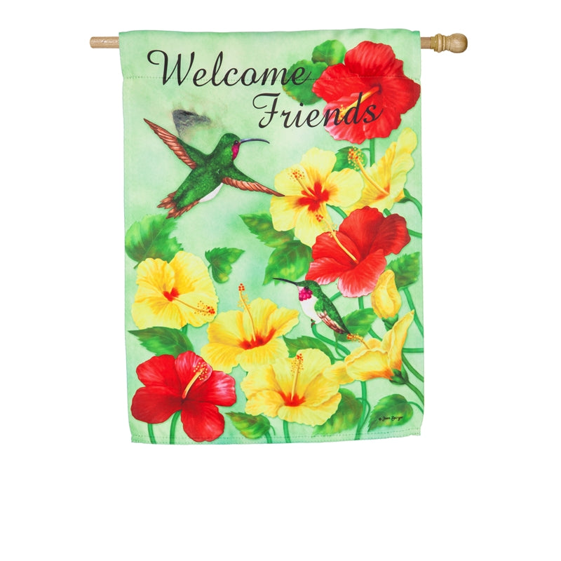 "Load image into Gallery viewer, ""Hummingbird Welcome"" Printed Suede Seasonal House Flag; Polyester"