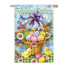 "Load image into Gallery viewer, ""Easter Egg Basket"" Printed Suede Seasonal House Flag; Polyester"