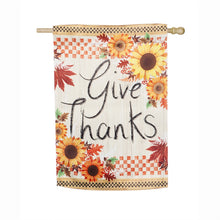 "Load image into Gallery viewer, ""Give Thanks"" Printed Suede Seasonal House Flag; Polyester"