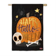 "Load image into Gallery viewer, ""Halloween Skull"" Printed Suede Seasonal House Flag; Polyester"