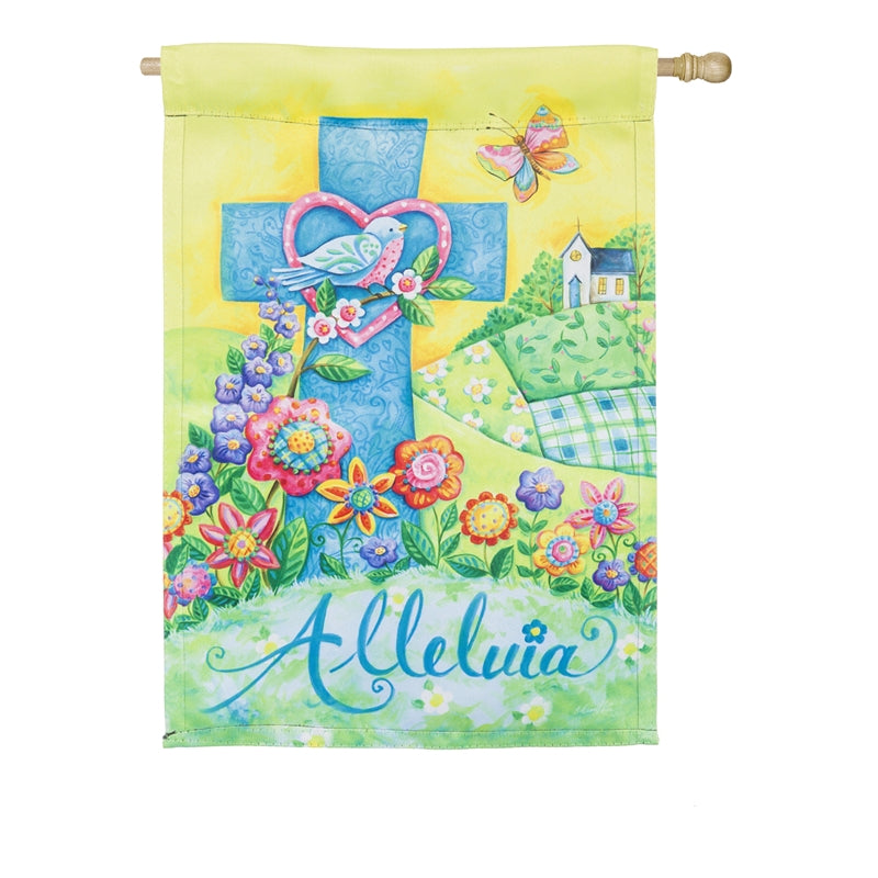 "Load image into Gallery viewer, ""Easter Alleluia"" Printed Suede Seasonal House Flag; Polyester"