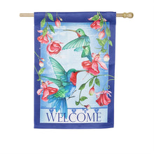 "Load image into Gallery viewer, ""Hummingbirds"" Printed Suede Seasonal House Flag; Polyester"