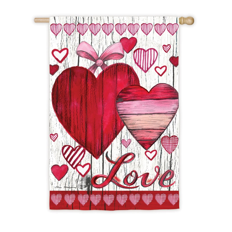 "Load image into Gallery viewer, ""Love Hearts"" Printed Suede Seasonal House Flag; Polyester"