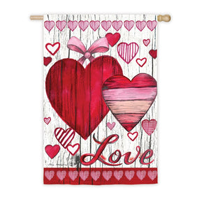 """Love Hearts"" Printed Suede Seasonal House Flag; Polyester"
