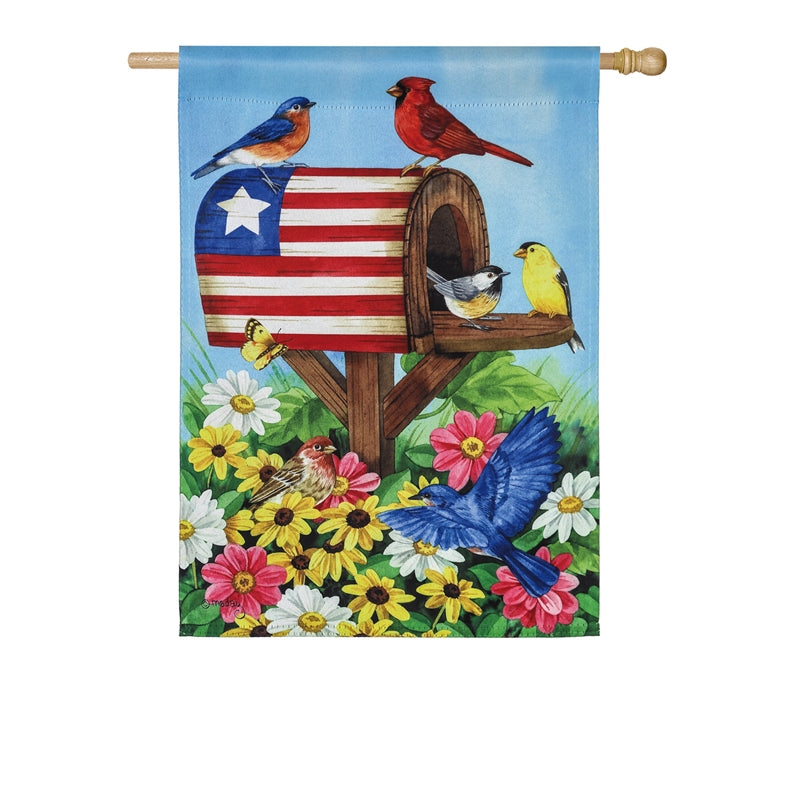 "Load image into Gallery viewer, ""Americana Mailbox"" Printed Suede Seasonal House Flag; Polyester"
