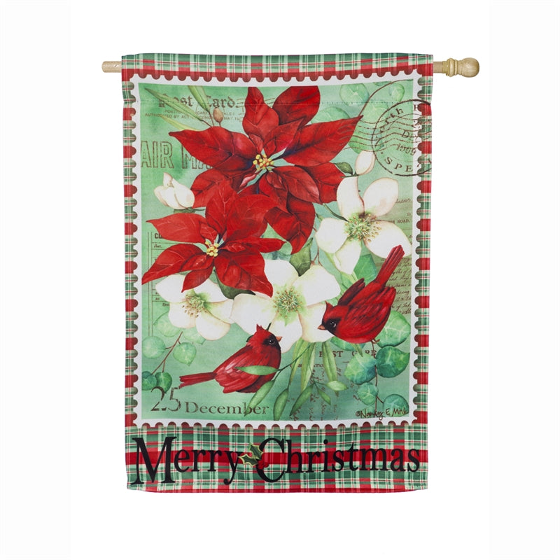"Load image into Gallery viewer, ""Christmas Floral"" Printed Suede Seasonal House Flag; Polyester"