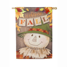 "Load image into Gallery viewer, ""Welcome Fall Scarecrow"" Printed Suede Seasonal House Flag; Polyester"