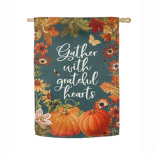 "Load image into Gallery viewer, ""Fall Garden Gather"" Printed Suede Seasonal House Flag; Polyester"