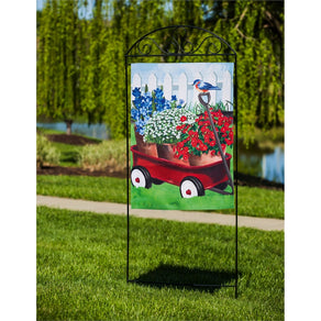 """Americana Red Wagon"" Printed Suede Seasonal House Flag; Polyester"