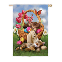 "Load image into Gallery viewer, ""Hard Day with the Easter Bunny"" Printed Seasonal House Flag; Polyester"