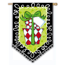 "Load image into Gallery viewer, ""Polka Dot Presents"" Printed Suede Seasonal House Flag; Polyester"