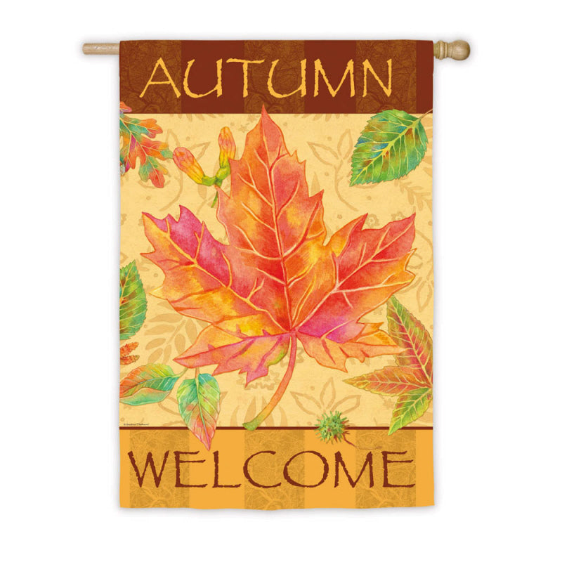 "Load image into Gallery viewer, ""Big Maple Autumn"" Printed Suede Seasonal House Flag; Polyester"