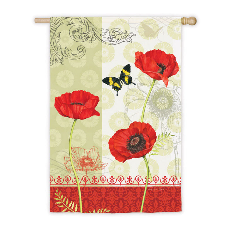 "Load image into Gallery viewer, ""Poppy Garden"" Printed Suede Seasonal House Flag; Polyester"