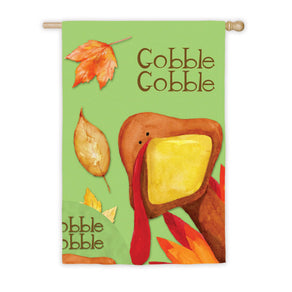 """Gobble Gobbly Turkey"" Printed Suede Seasonal House Flag; Polyester"