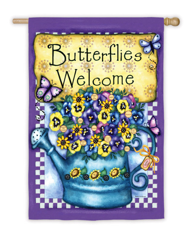"Load image into Gallery viewer, ""Welcome Butterflies"" Printed Suede Seasonal House Flag; Polyester"