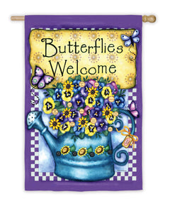 """Welcome Butterflies"" Printed Suede Seasonal House Flag; Polyester"