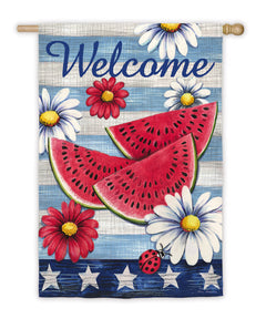 """American Watermelon"" Printed Suede Seasonal House Flag; Polyester"