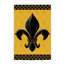"Load image into Gallery viewer, ""Black & Gold Fleur De Lis"" Printed Seasonal Garden Flag; Polyester"