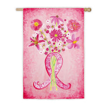 Load image into Gallery viewer, Breast Cancer Awareness Pink Ribbon Printed Garden Flag; Polyester