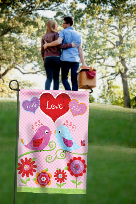 Hug Love Kiss Love Birds Garden Flag