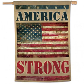 """America Strong"" Printed Seasonal Banner; Polyester"