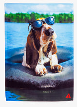 "Load image into Gallery viewer, ""Basset in Innertube"" Printed Seasonal Garden Flag; Polyester"