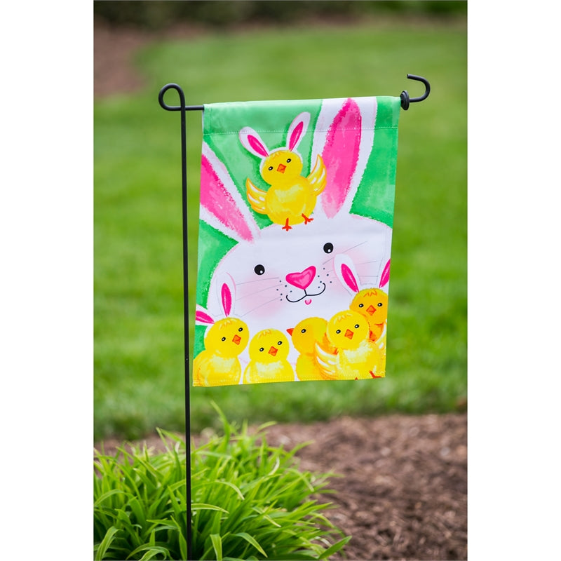 "Load image into Gallery viewer, ""Bunny & Chick"" Printed Seasonal Garden Flag; Polyester"
