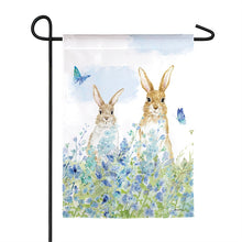 "Load image into Gallery viewer, ""Bunnies in a Meadow"" Printed Seasonal Garden Flag; Polyester"
