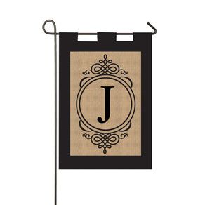 "Burlap Monogram ""J"" Double Sided Applique Garden Flag; Polyester Burlap"