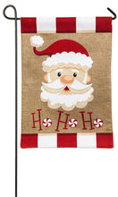 "Load image into Gallery viewer, ""Santa Ho Ho Ho"" Printed Seasonal Garden Flag; Polyester Burlap"