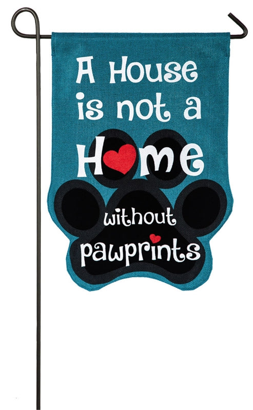 "Load image into Gallery viewer, ""Paw Prints"" Printed Seasonal Garden Flag; Polyester-Burlap"