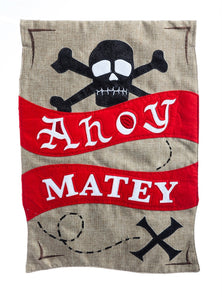 """Ahoy Matey Pirate"" Printed Seasonal Garden Flag; Polyester Burlap"