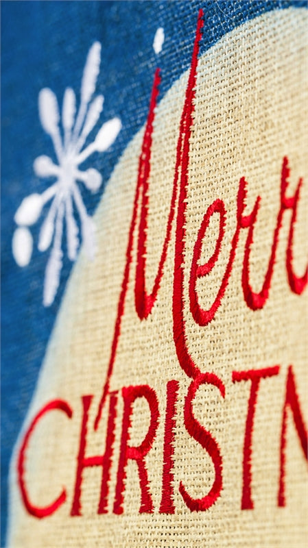 "Load image into Gallery viewer, ""Merry Christmas & Happy New Year"" Printed Seasonal Garden Flag; Polyester Burlap"