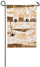 "Load image into Gallery viewer, ""Mummy Garden"" Printed Seasonal Garden Flag; Polyester Burlap"