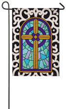 "Load image into Gallery viewer, ""Cross with Scroll Border"" Seasonal Garden Flag; Polyester Burlap"