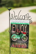 "Load image into Gallery viewer, ""Summer Bicycle"" Printed Burlap Seasonal Garden Flag; Polyester"