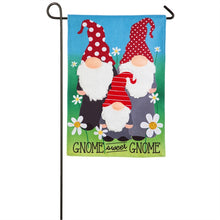 "Load image into Gallery viewer, ""Gnome Sweet Gnome"" Printed/Applique Seasonal Garden Flag; Polyester Burlap"