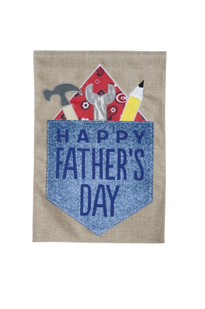 "Load image into Gallery viewer, ""Happy Fathers Day"" Printed Seasonal Garden Flag; Polyester Burlap"