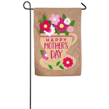 "Load image into Gallery viewer, ""Happy Mothers Day"" Printed Seasonal Garden Flag; Polyester Burlap"