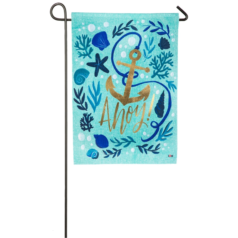 "Load image into Gallery viewer, ""Ahoy!"" Printed Burlap Seasonal Garden Flag; Polyester"