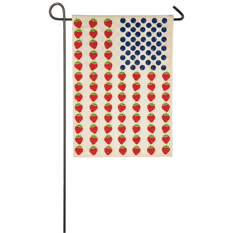 "Load image into Gallery viewer, ""Patriotic Fruit"" Burlap Seasonal Garden Flag; Polyester"