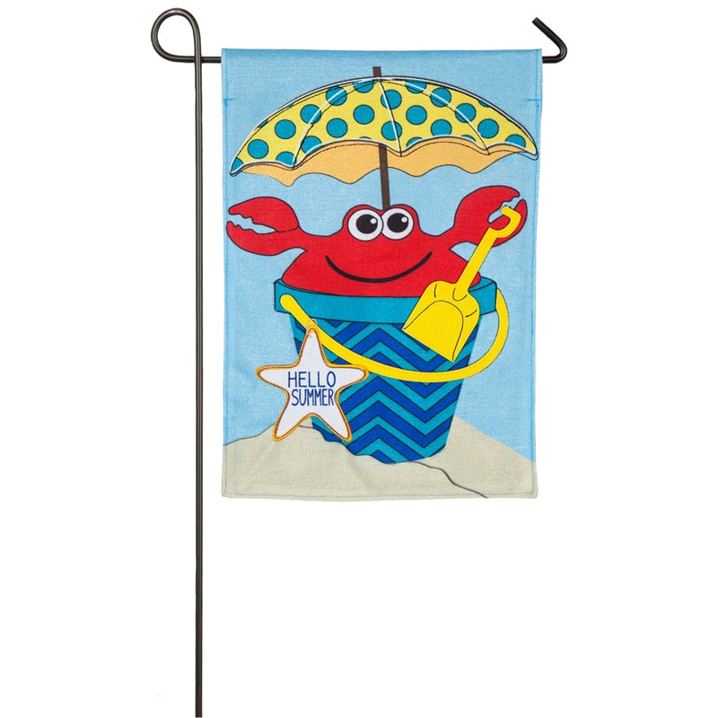 "Load image into Gallery viewer, ""Crabby"" Printed Burlap Seasonal Garden Flag; Polyester"
