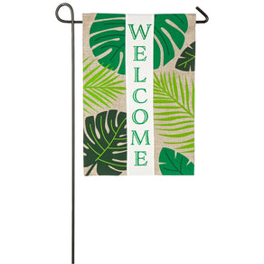 """Welcome Palms"" Printed Seasonal Garden Flag; Polyester Burlap"