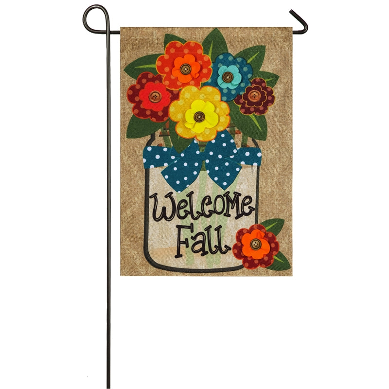"Load image into Gallery viewer, ""Welcome Fall"" Applique Seasonal Garden Flag; Polyester Burlap"