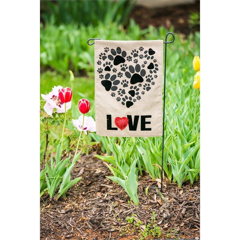 "Load image into Gallery viewer, ""Paw Prints Heart"" Printed Seasonal Garden Flag; Polyester Burlap"