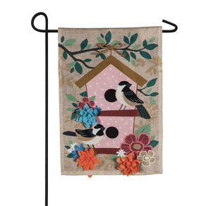"""Chickadee Dot Birdhouse"" Printed Seasonal Garden Flag; Polyester Burlap"