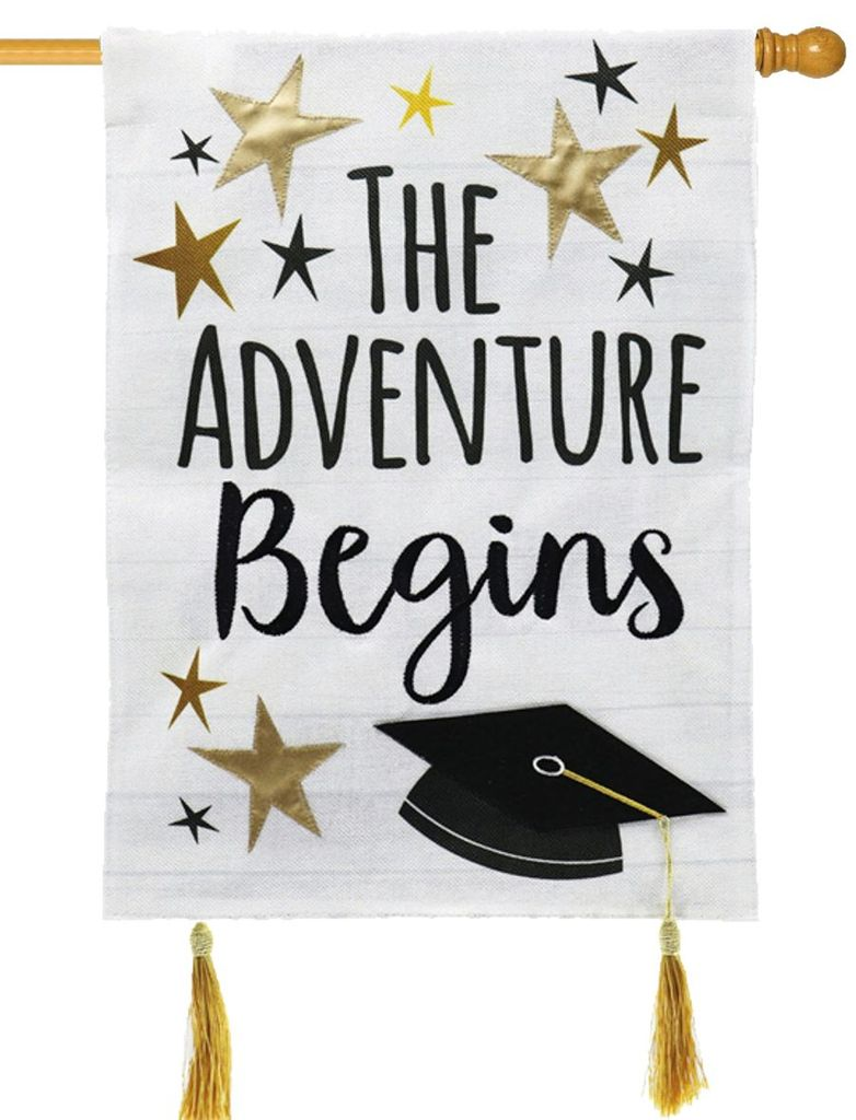 "Load image into Gallery viewer, ""Graduation Adventure"" Printed Seasonal House Flag; Polyester Burlap"